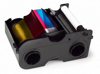 Картридж с лентой и чистящим валиком полноцветная полупанельная лента Fargo YMCKO 1/2 45114